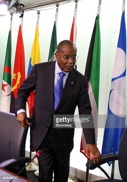 Jose Maria Botelho de Vasconcelos Angola's oil minister and OPEC president arrives for a news conference following the 153rd Organization of...