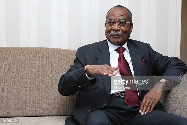 Jose Maria Botelho de Vasconcelos Angola's oil minister and OPEC president gestures while speaking in his hotel room prior to the 154th Organization...