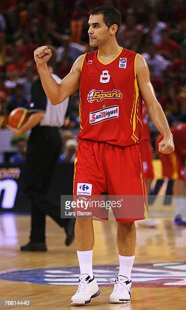 Jose Maria Calderon of Spain celebrates during the FIBA EuroBasket 2007 qualifying round Group E match between Russia and Spain at the Telefonica...