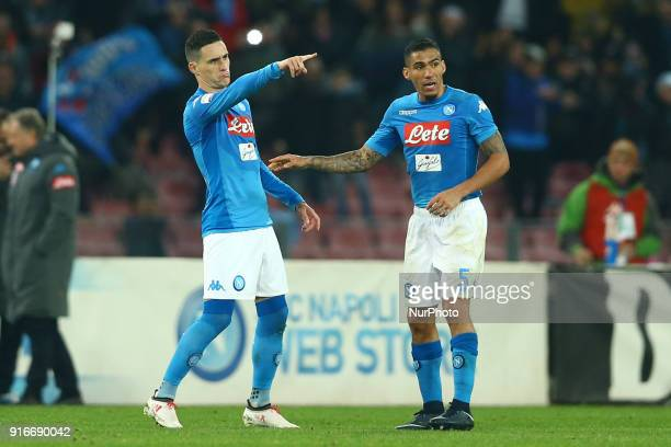 Jose Maria Callejon celebrates with Allan Loudeiro of Napoli after the goal of 11 during the serie A match between SSC Napoli and SS Lazio at Stadio...