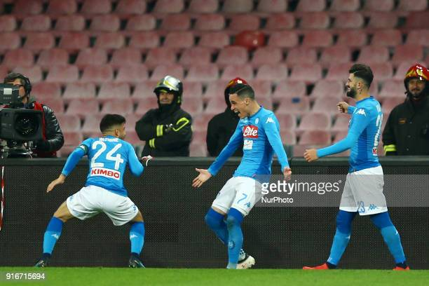 Jose Maria Callejon celebrates with Lorenzo Insigne of Napoli during the serie A match between SSC Napoli and SS Lazio at Stadio San Paolo on...