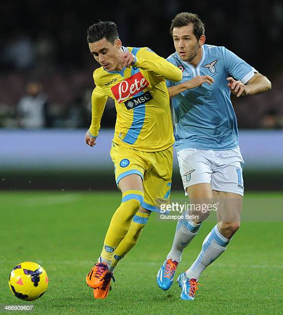 Jose Maria Callejon of Napoli and Senad Lulic of Lazio in action during the TIM Cup match between SSC Napoli and SS Lazio at Stadio San Paolo on...