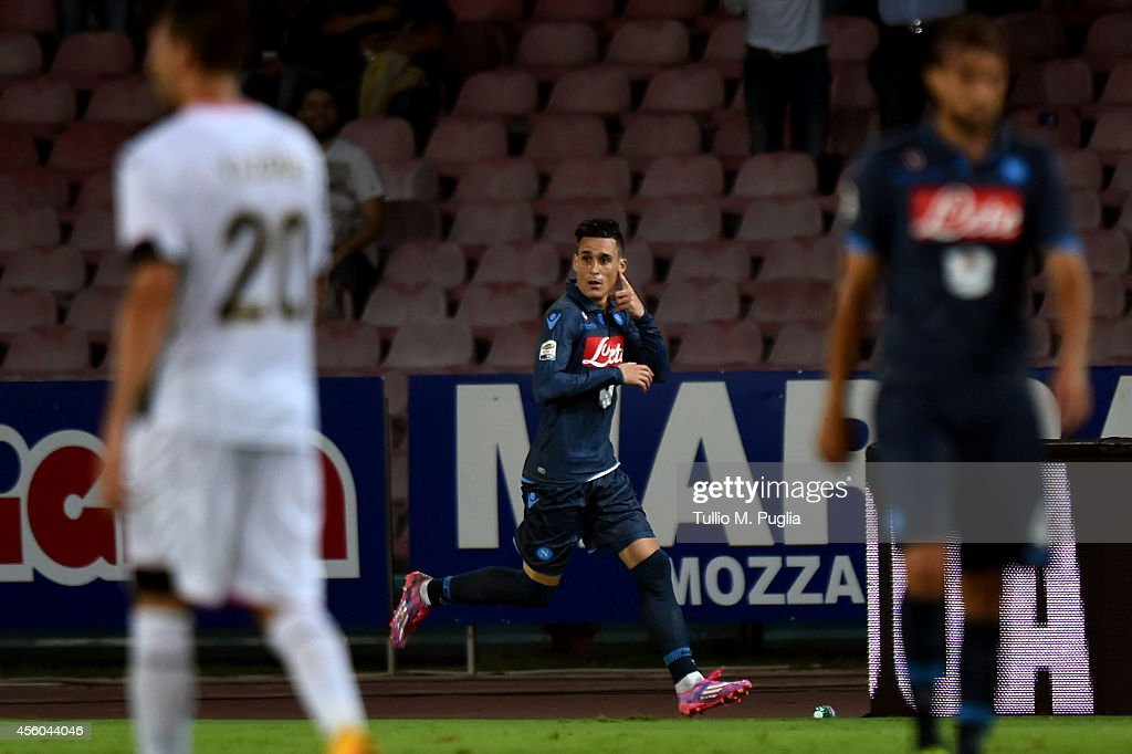 Jose Maria Callejon of Napoli celebrates after scoring his team's third goal during the Serie A match between SSC Napoli and US Citta di Palermo at Stadio San Paolo on September 24, 2014 in Naples, Italy.