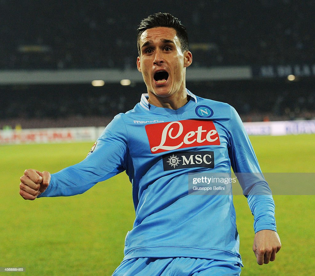 Jose Maria Callejon of Napoli celebrates after scoring his team's fourth goal during the Serie A match between SSC Napoli vs FC Internazionale Milano at Stadio San Paolo on December 15, 2013 in Naples, Italy.