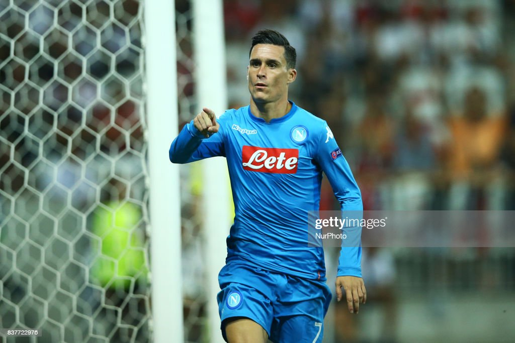 Jose Maria Callejon of Napoli celebration during the UEFA Champions League Qualifying Play-Offs round, second leg match, between OGC Nice and SSC Napoli at Allianz Riviera Stadium on August 22, 2017 in Nice, France.