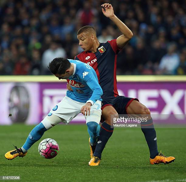 Jose Maria Callejon of Napoli competes for the ball with Sebastian De Maio of Genoa during the Serie A match between SSC Napoli and Genoa CFC at...