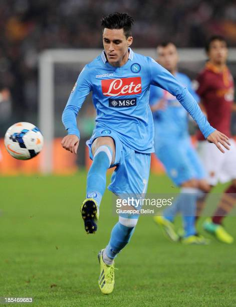Jose Maria Callejon of Napoli in action during the Serie A match between AS Roma and SSC Napoli at Stadio Olimpico on October 18, 2013 in Rome, Italy.