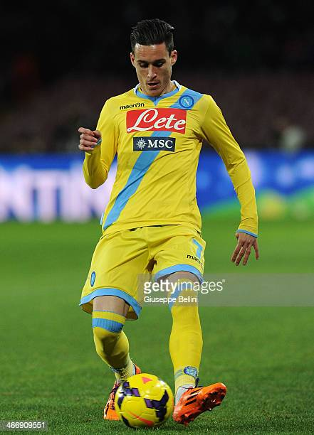 Jose Maria Callejon of Napoli in action during the TIM Cup match between SSC Napoli and SS Lazio at Stadio San Paolo on January 29 2014 in Naples...
