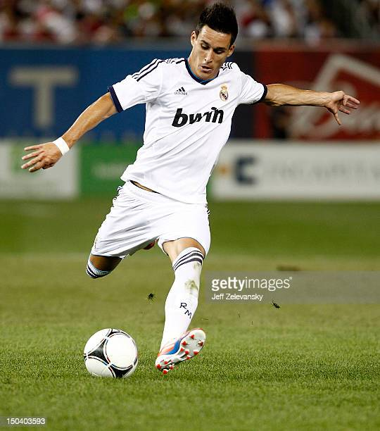 Jose Maria Callejon of Real Madrid drives upfield against AC Milan during their match at Yankee Stadium on August 8 2012 in the Bronx borough of New...