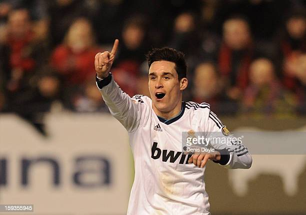 Jose Maria Callejon of Real Madrid signals to the linesman after he was called offside during the La Liga match between Osasuna and Real Madrid at...