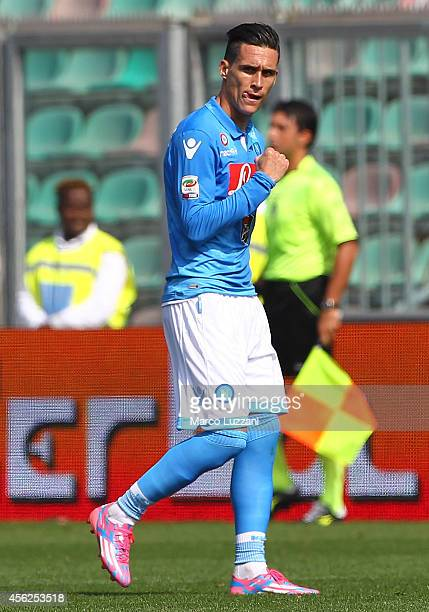Jose Maria Callejon of SSC Napoli celebrates after scoring the opening goal during the Serie A match between US Sassuolo Calcio and SSC Napoli on...