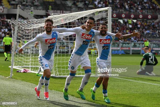 Jose Maria Callejon of SSC Napoli celebrates his second goal with team mates Dries Mertens and Lorenzo Insigne during the Serie A match between FC...