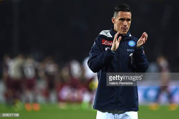 Jose Maria Callejon of SSC Napoli celebrates victory at the end of the Serie A match between Torino FC and SSC Napoli at Stadio Olimpico di Torino on...