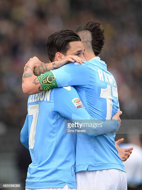 Jose' Maria Callejon of SSC Napoli celebrates with teamsmate Marek Hamsik after scoring his opening goal during the Serie A match between Udinese...