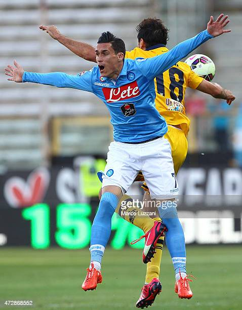 Jose Maria Callejon of SSC Napoli competes for the ball with Massimo Gobbi of Parma FC during the Serie A match between Parma FC and SSC Napoli at...