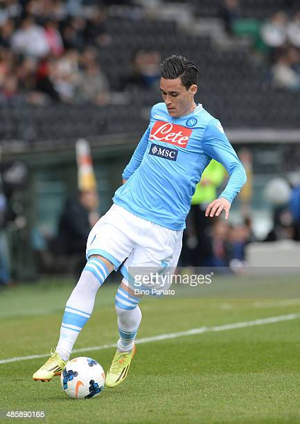 Jose' Maria Callejon of SSC Napoli controlls the ball during the Serie A match between Udinese Calcio and SSC Napoli at Stadio Friuli on April 19...