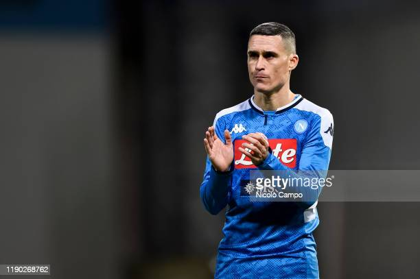 Jose Maria Callejon of SSC Napoli gestures at the end of the Serie A football match between US Sassuolo and SSC Napoli. SSC Napoli won 2-1 over US...