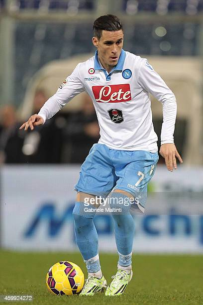 Jose' Maria Callejon of SSC Napoli in action during the Serie A match between UC Sampdoria and SSC Napoli at Stadio Luigi Ferraris on December 1 2014...