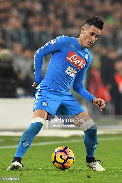 Jose Maria Callejon of SSC Napoli in action during the Serie A match between Juventus FC and SSC Napoli at Juventus Stadium on October 29 2016 in...