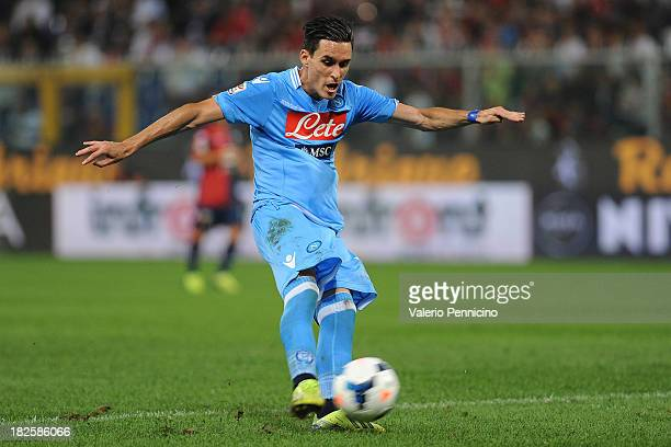 Jose Maria Callejon of SSC Napoli kicks the ball during the Serie A match between Genoa CFC and SSC Napoli at Stadio Luigi Ferraris on September 28...