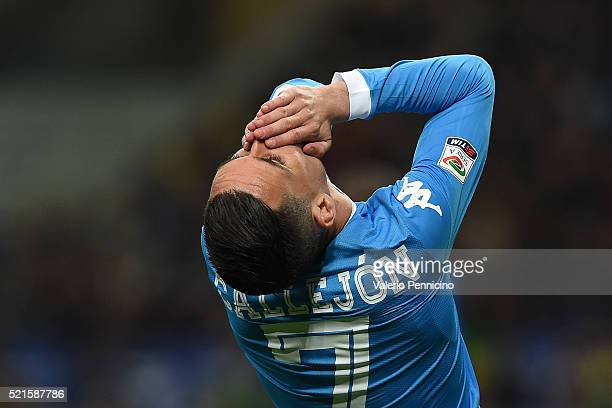 Jose Maria Callejon of SSC Napoli reacts during the Serie A match between FC Internazionale Milano and SSC Napoli at Stadio Giuseppe Meazza on April...