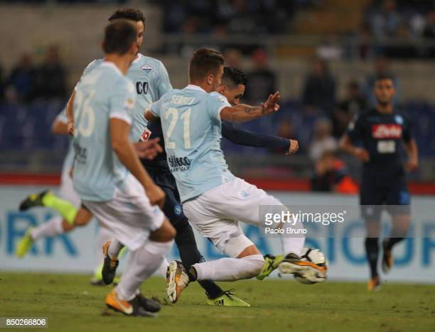 Jose' Maria Callejon of SSC Napoli scores the team's second goal during the Serie A match between SS Lazio and SSC Napoli at Stadio Olimpico on...