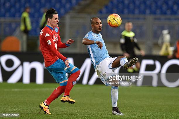 Jose' Maria Callejon of SSC Napoli vies with Abdoulay Konko of SS Lazio during the Serie A match between SS Lazio and SSC Napoli at Stadio Olimpico...