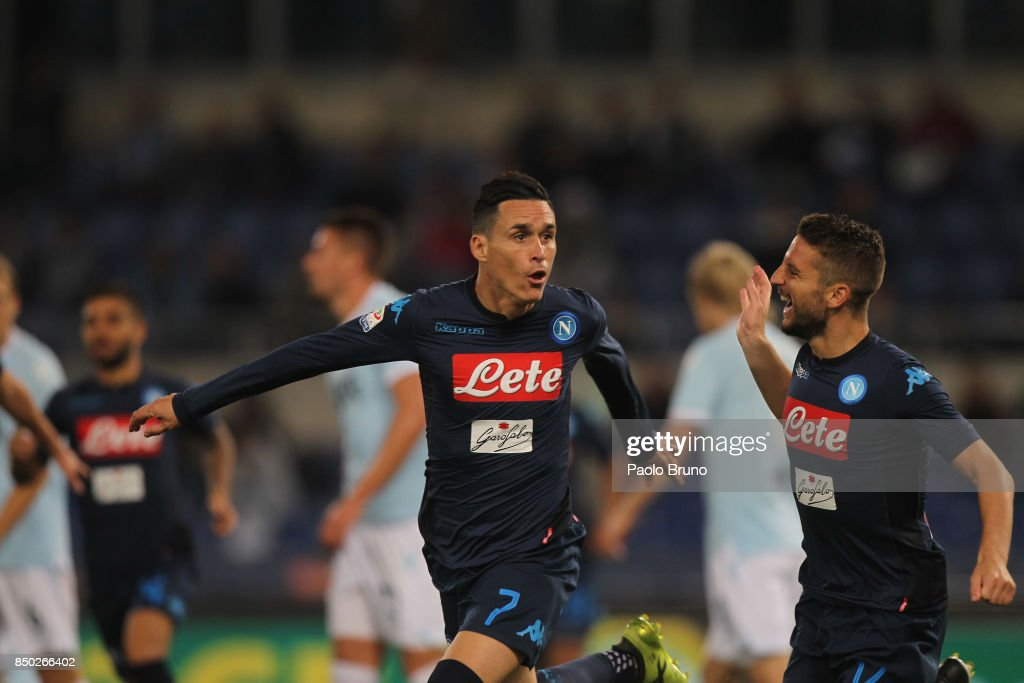 Jose' Maria Callejon with Dries Mertens of SSC Napoli celebrates after scoring the team's second goal during the Serie A match between SS Lazio and SSC Napoli at Stadio Olimpico on September 20, 2017 in Rome, Italy.