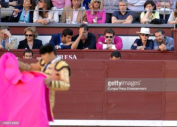 Jose Maria Cano Elena Ochoa the goal keeper Iker Casillas an unknown person and the football player Miguel Torres at Las Ventas bullring during the...