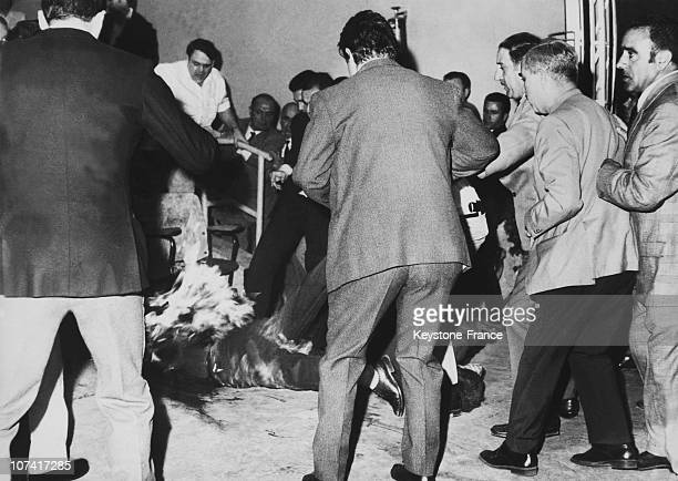 Jose Maria Elossequi Throwing On The Ground His Body On Fire Before Franco In San Sebastian On September 22Nd 1970