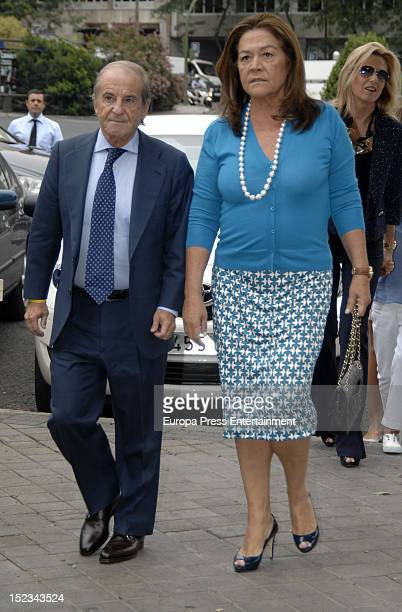 Jose Maria Garcia and Monste Fraile attend the christening of Carla Goyanes and Jorge Benguria on September 18 2012 in Madrid Spain