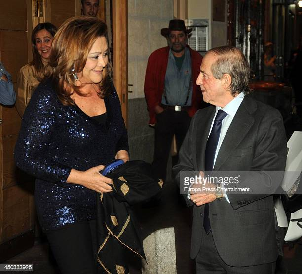 Jose Maria Garcia and Montserrat Fraile attend the Jose Maria Garcia's 70 birthday party on November 13 2013 in Madrid Spain