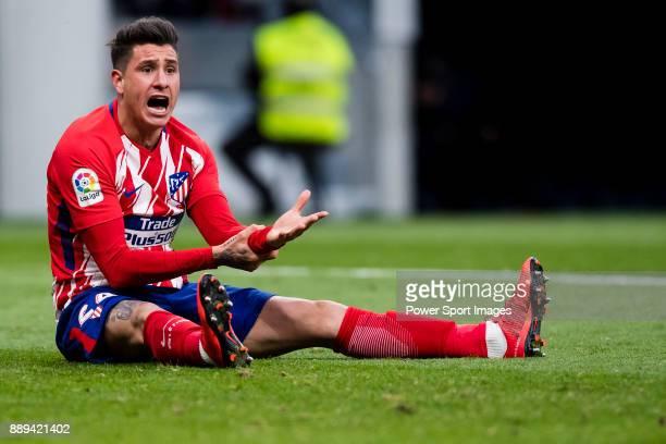 Jose Maria Gimenez de Vargas of Atletico de Madrid gestures during the La Liga 201718 match between Atletico de Madrid and Real Sociedad at Wanda...