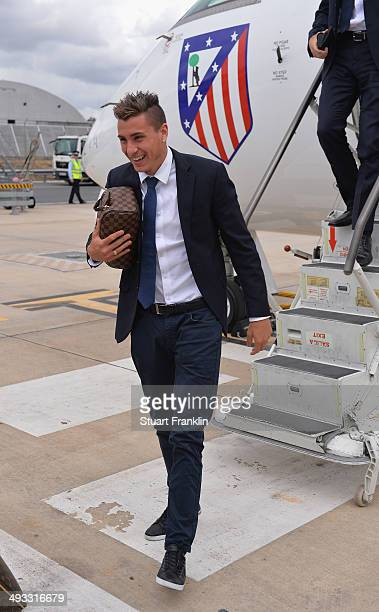 Jose maria Gimenez of Athletico Madrid arrives at Lisbon airport prior to the UEFA Champions League Final between Real Madrid and Athletico Madrid at...