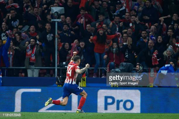 Jose Maria Gimenez of Atletico de Madrid celebrates after scoring his team's first goal during the UEFA Champions League Round of 16 First Leg match...