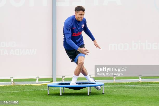 Jose Maria Gimenez of Atletico de Madrid in action during a training session at Estadio Cerro del Espino on May 12 2020 in Madrid Spain