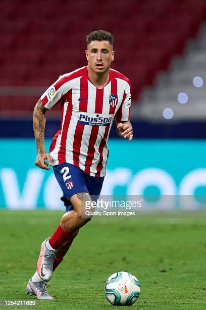 Jose Maria Gimenez of Atletico de Madrid runs with the ball during the Liga match between Club Atletico de Madrid and RCD Mallorca at Wanda...
