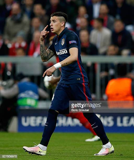 Jose Maria Gimenez of Atletico Madrid reacts during UEFA Champions League semi final second leg match between FC Bayern Muenchen and Club Atletico de...