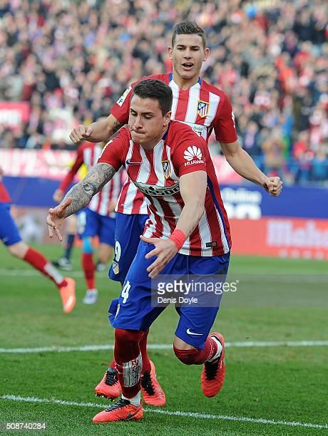Jose Maria Gimenez of Club Atletico de Madrid celebrates after scoring his team's opening goal during the La Liga match between Club Atletico de...