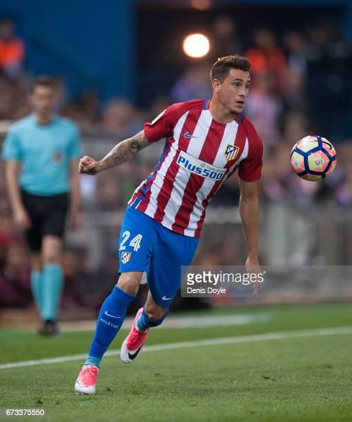 Jose Maria Gimenez of Club Atletico de Madrid in action during the La Liga match between Club Atletico de Madrid and Villarreal CF at estadio...