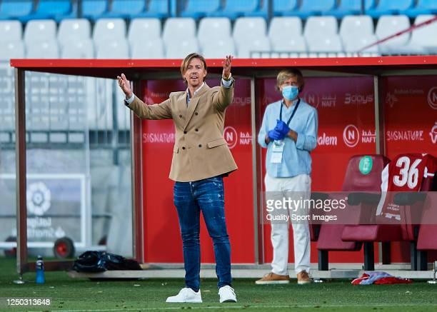 """Jose Maria Guiterrez """"Guti"""" of UD Almeria reacts during the La Liga Smartbank match between UD Almeria and UD Las Palmas at Estadio Municipal de Los..."""
