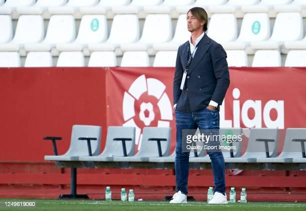 Jose Maria Gutierrez, Manager of Almeria looks on during La Liga SmartBank match between Albacete Balompie and UD Almeria at Estadio Carlos Belmointe...