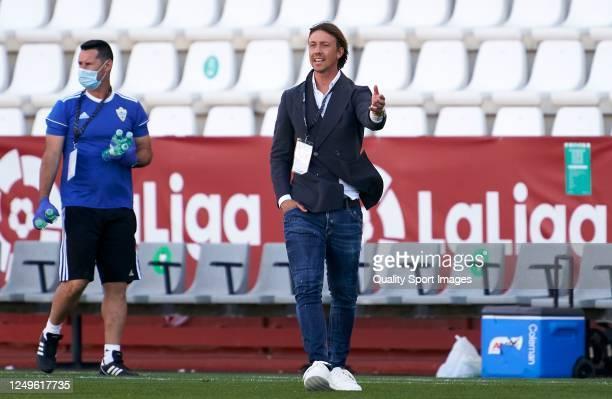 Jose Maria Gutierrez, Manager of Almeria reacts during La Liga SmartBank match between Albacete Balompie and UD Almeria at Estadio Carlos Belmointe...