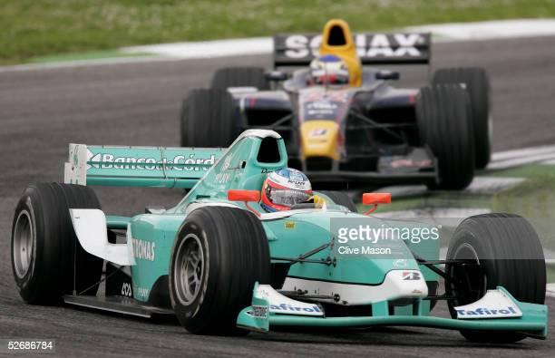 Jose Maria Lopez leads Heikki Kovalainen during the San Marino GP2 Series race at the San Marino Circuit on April 23 in Imola Italy