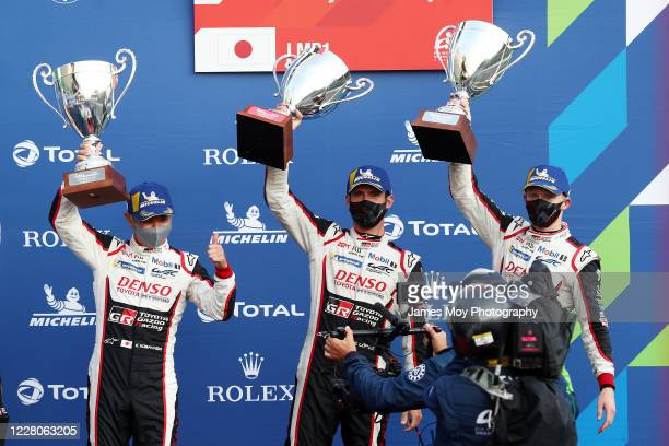 Jose Maria Lopez of Argentina and Toyota Gazoo Racing, Kamui Kobayashi of Japan and Toyota Gazoo Racing, and Mike Conway of Great Britain and Toyota...