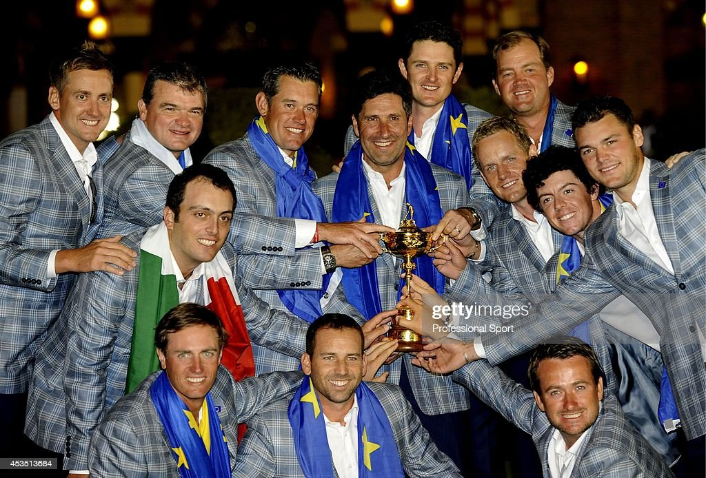 Jose Maria Olazabal and the victorious European Team celebrate with the trophy after their famous comeback in the Singles Matches for The 39th Ryder Cup at Medinah Country Club on September 30, 2012 in Medinah, Illinois.