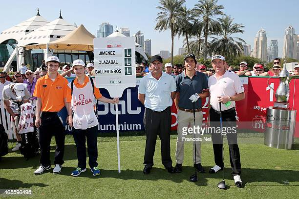 Jose Maria Olazabal Javier Ballesteros and Miguel Angel Jimenez poses for a picture prior to the start of the Champions Challenge as a preview for...