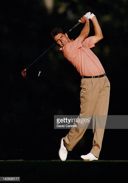 Jose Maria Olazabal of Spain and Europe tees off at the 15th tee during the 27th Ryder Cup Matches on 26th September 1987at the Muirfield Village in...