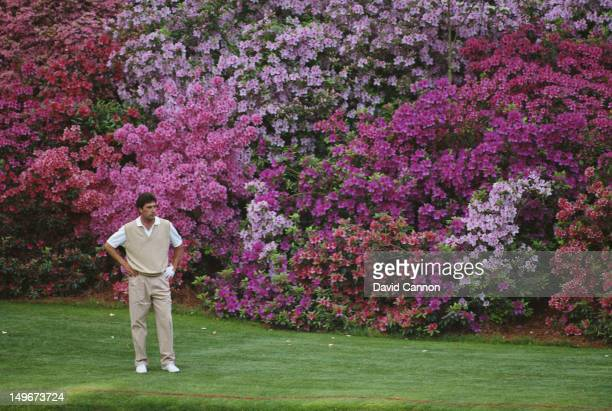 Jose Maria Olazabal of Spain contemplates a fourth shot at the 13th hole on 9th April 1994 during the US Masters Golf Tournament at the Augusta...
