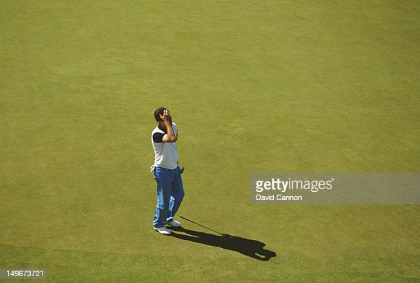 Jose Maria Olazabal of Spain holds his head after missing a putt during the Bell's Scottish Open Championship on 10th July 1991 at the King's Course,...